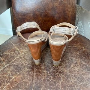 Frye Shoes - Frye taupe leather Corrina wedges sandals 6